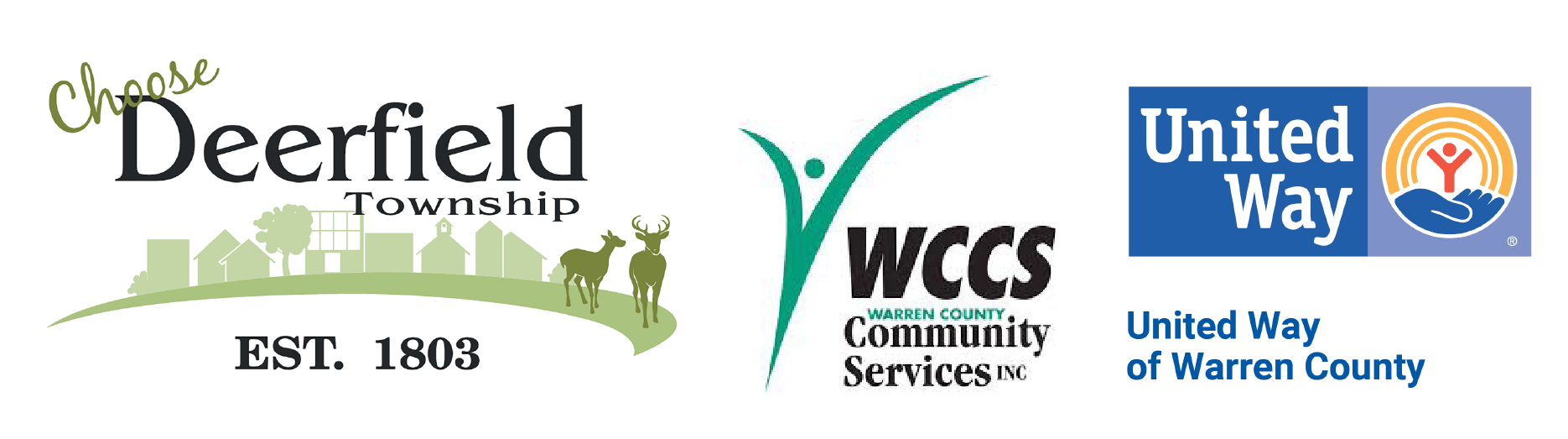 Logos for Deerfield Township, Warren County Community Services, and Warren County United Way