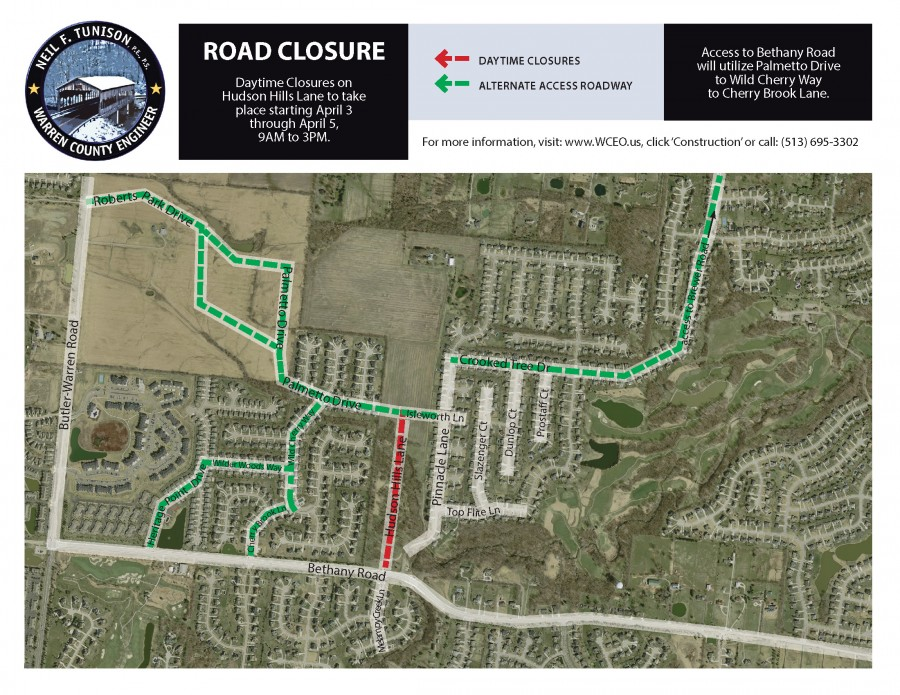 Daytime Closures in Hudson Hills Development for Concrete Traffic Island Removal
