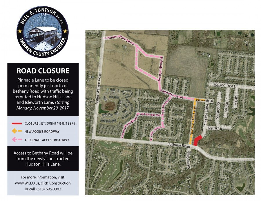 Pinnacle Lane at Bethany Road to be closed Permanently in Deerfield Township
